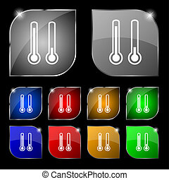 thermometer temperature icon sign. Set of ten colorful buttons with glare.