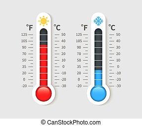thermometer., thermomètres, celsius, froid, chaud, fahrenheit, vecteur, temps, température, scale., météorologie, icône, thermostat