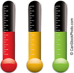 thermometer variation - Set of three thermometers with scale...