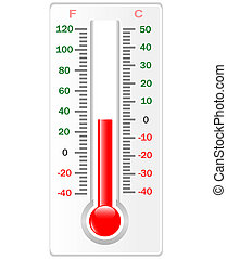 Thermometer isolated on white. Vector. Celsius and Fahrenheit