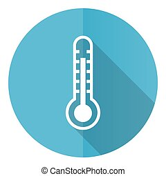 Thermometer vector icon, flat design blue round web button isolated on white background