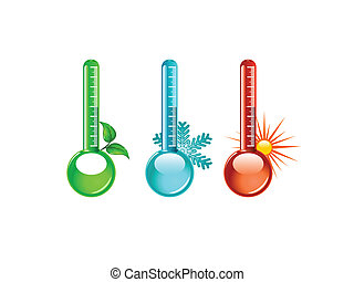 Thermometer vector - Three color thermometer vector, vector ...