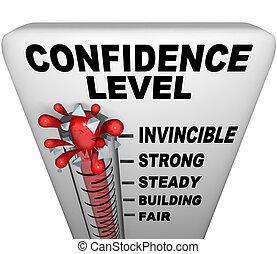 thermometer, -, vertrouwen, niveau