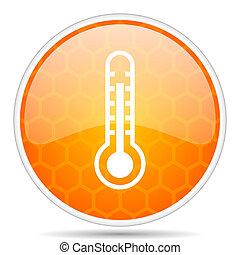 Thermometer web icon. Round orange glossy internet button for webdesign.