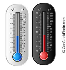 Thermometer white and black. Vector. Celsius and Fahrenheit.