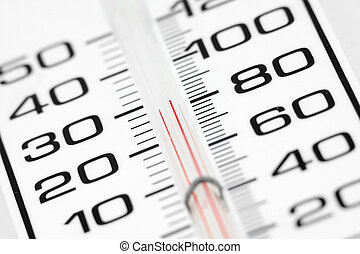 white thermometer close up, weather concept