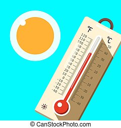 Thermometer with Blue Sky and Sun. Hot Summer Day Symbol. ...