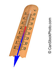 Thermometer with Celsius shows decrease of the temperature