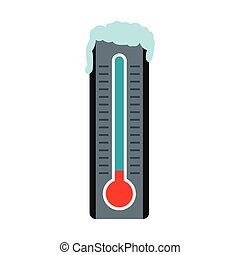 Thermometer with low temperature icon, flat style