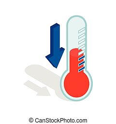 Thermometer with low temperature icon in isometric 3d style...