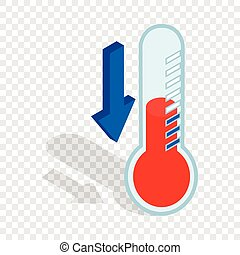 Thermometer with low temperature isometric icon
