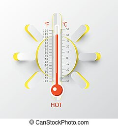 Thermometer with Paper Cut Sun. Vector Hot Weather Symbol.