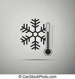 Thermometer with snowflake icon isolated on grey background. Flat design. Vector Illustration