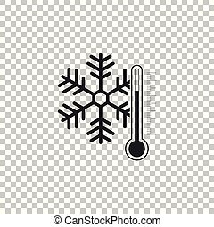 Thermometer with snowflake icon isolated on transparent background. Flat design. Vector Illustration