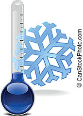 thermometer with snowflake - illustration of a thermometer ...