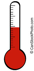 thermometer with temperature rising