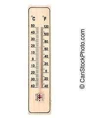 Thermometer - Wooden thermometer isolated on a white...