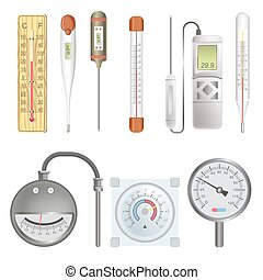 Thermometers for atmosphere and human body illustrations set