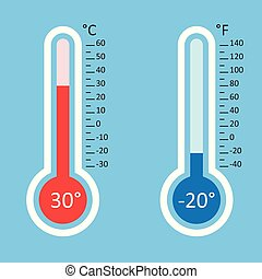 Thermometers icon. Goal flat vector illustration isolated on blue background.