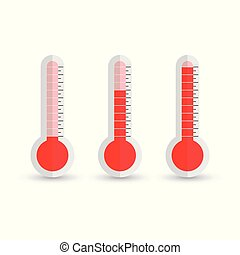Thermometers icon with different levels. Flat vector illustration isolated on white background.