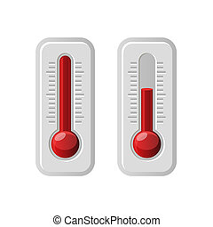 Thermometers Icons With Different Levels. Vector