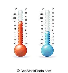 thermometr, vetorial, jogo, ícone