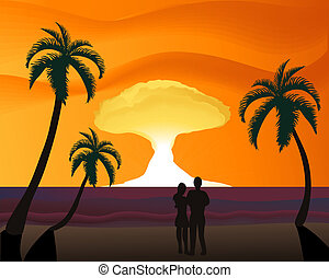 Thermonuclear Sunset - Silhouette of a couple on the beach...