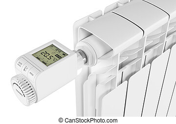 Thermoregulator valve control on radiator isolated on white...