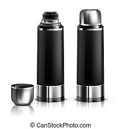。, thermos, 黒, vector., mock
