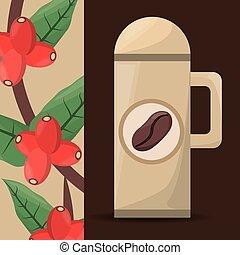 thermos café, arbre, haricot