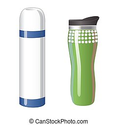 Thermos flask icons. Tumbler thermo cup isolated on a white background. Vector illustration