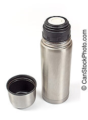 Thermos flask isolated on white
