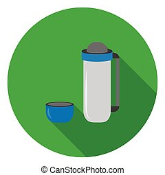 Thermos icon in flat style isolated on white background. Camping symbol stock vector illustration.