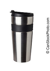 Thermos travel tumbler, cup. Closeup.