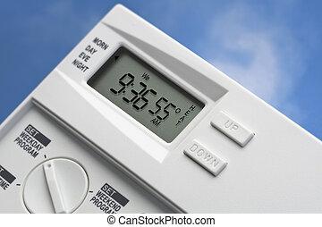 thermostat, 55, ciel, chaleur, v2, degrés