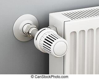 thermostat., ajustable, radiador, ilustración, 3d