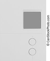 Thermostat faceplate with blank LCD screen and 2 buttons in whit