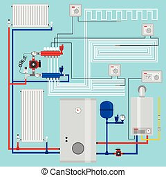 thermostat., illustration., pump., energy-saving, 痛みなさい, ...
