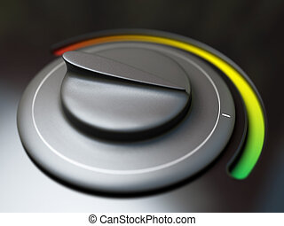 thermostat over a black background button is setted on the green color