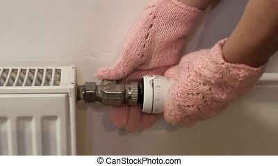 thermostat, radiateur, ajustement, intérieur, femme, gants, ...
