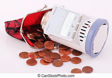 thermostat - A stethoscope with a red purse and coins