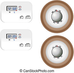 Thermostats illustrations - Digital and Analog Thermostats