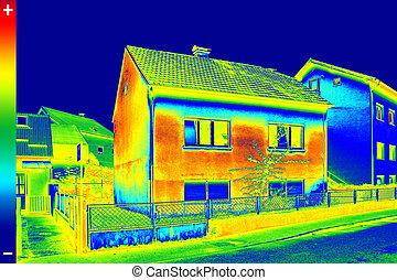 Thermovision image on House - Infrared thermovision image...