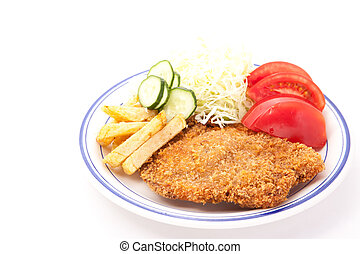 side dishes and pork cutlet - These are the side dishes and ...