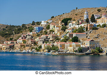 these filthy city - old town on the Greek island of Symi