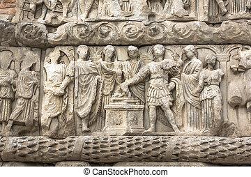 THESSALONIKI, GREECE - SEPTEMBER 30, 2017: Roman Arch of...