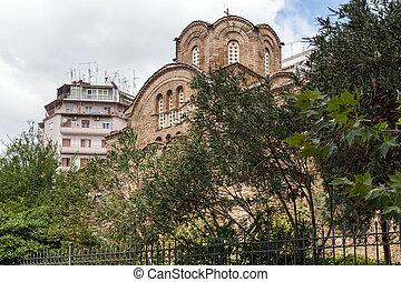 THESSALONIKI, GREECE - SEPTEMBER 30, 2017: Ancient Byzantine...