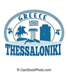 Thessaloniki, Greece stamp or label on white background,...