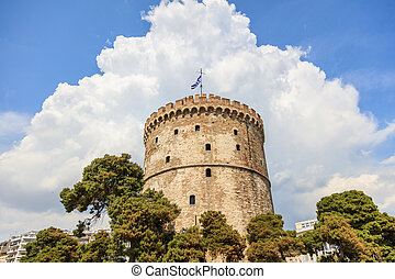 Thessaloniki, Greece. White tower on blue sky background -...