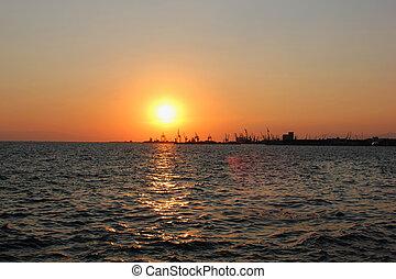 thessaloniki, port, coucher soleil, romantique, grèce